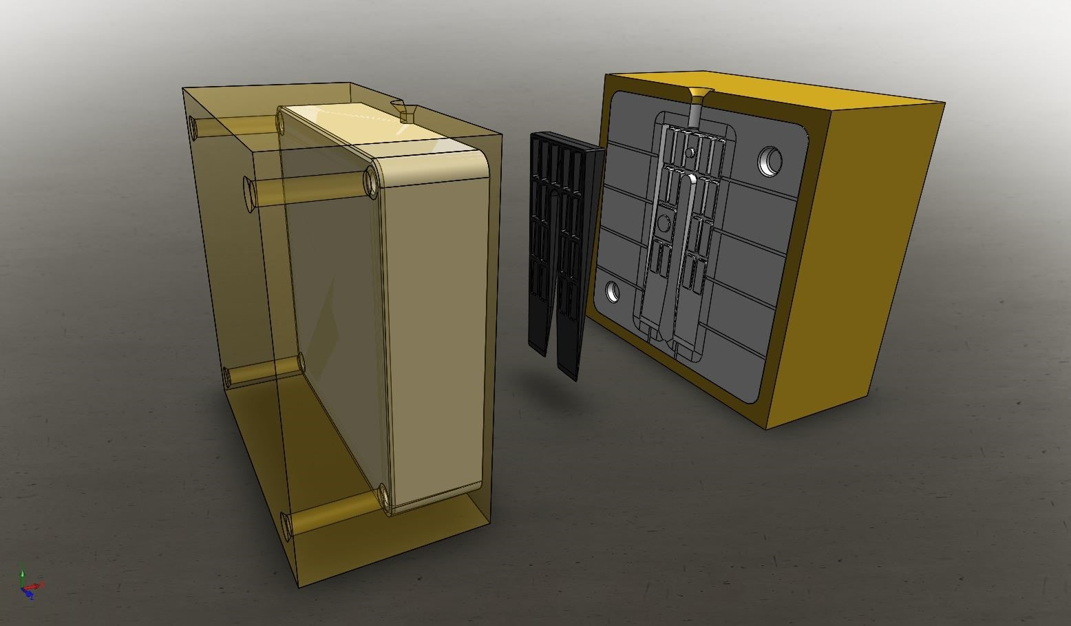 3D modeller af formkasser med 3D printede form indlæg fra Projet 3500HD printer. Printmaterialet til indlæg er 3DSystems Visijet M3-X