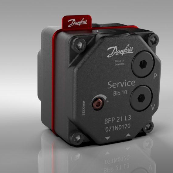 Fotorealistisk rendering til design vurdering af Danfoss oliepumpe med decals lavet i SolidWorks Visualize.
