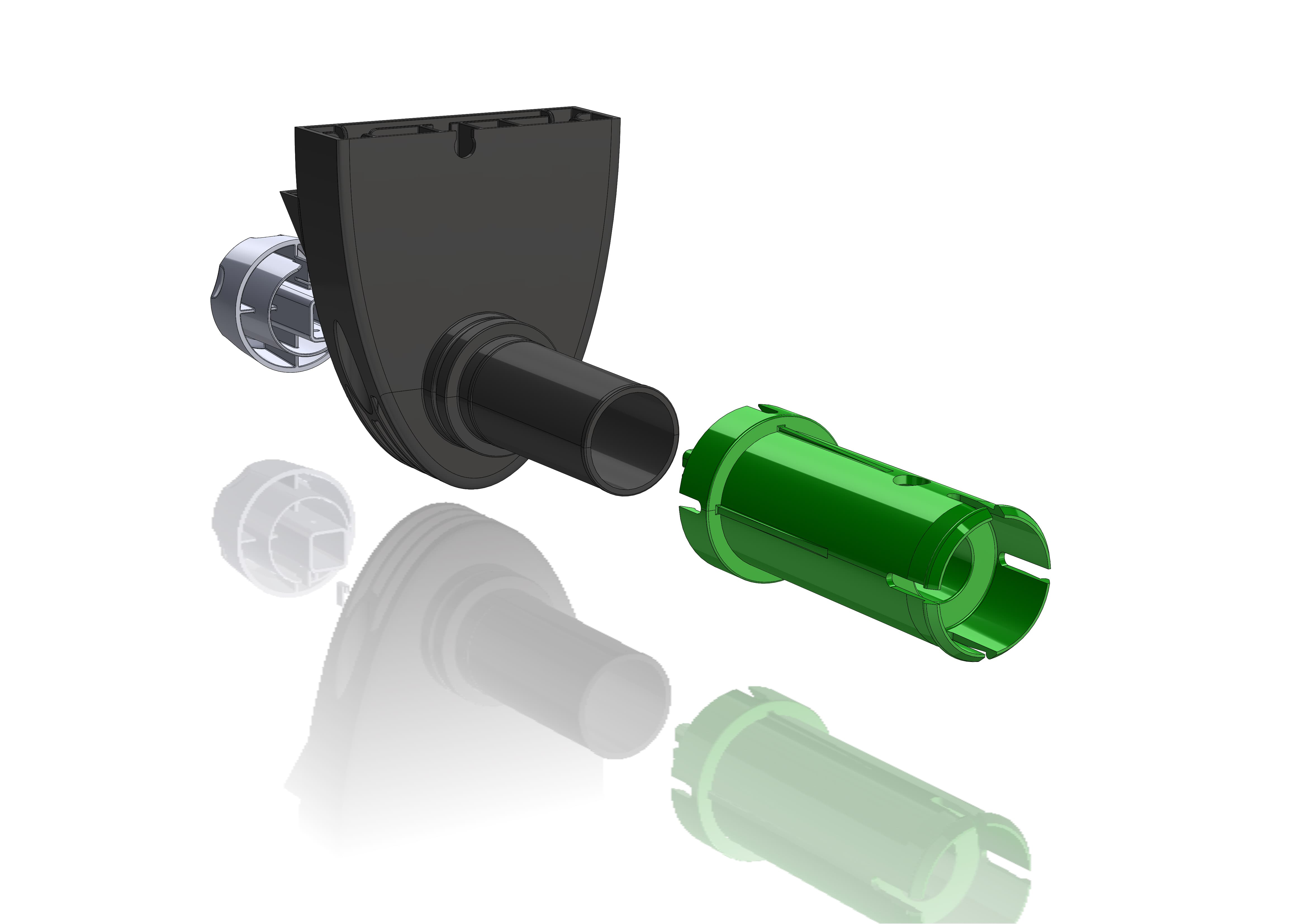 Eksploderet 3D model af plastdele som visuelt eksempel