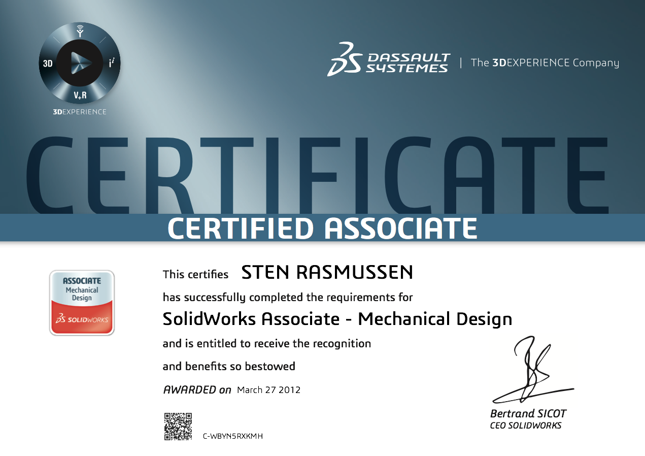 Certified SolidWorks Associate certificerings certifikat