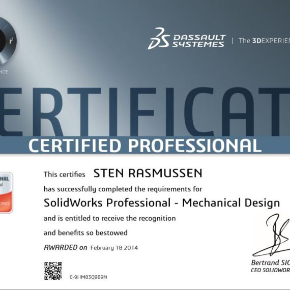 Certified SolidWorks Professional certificering certifikat