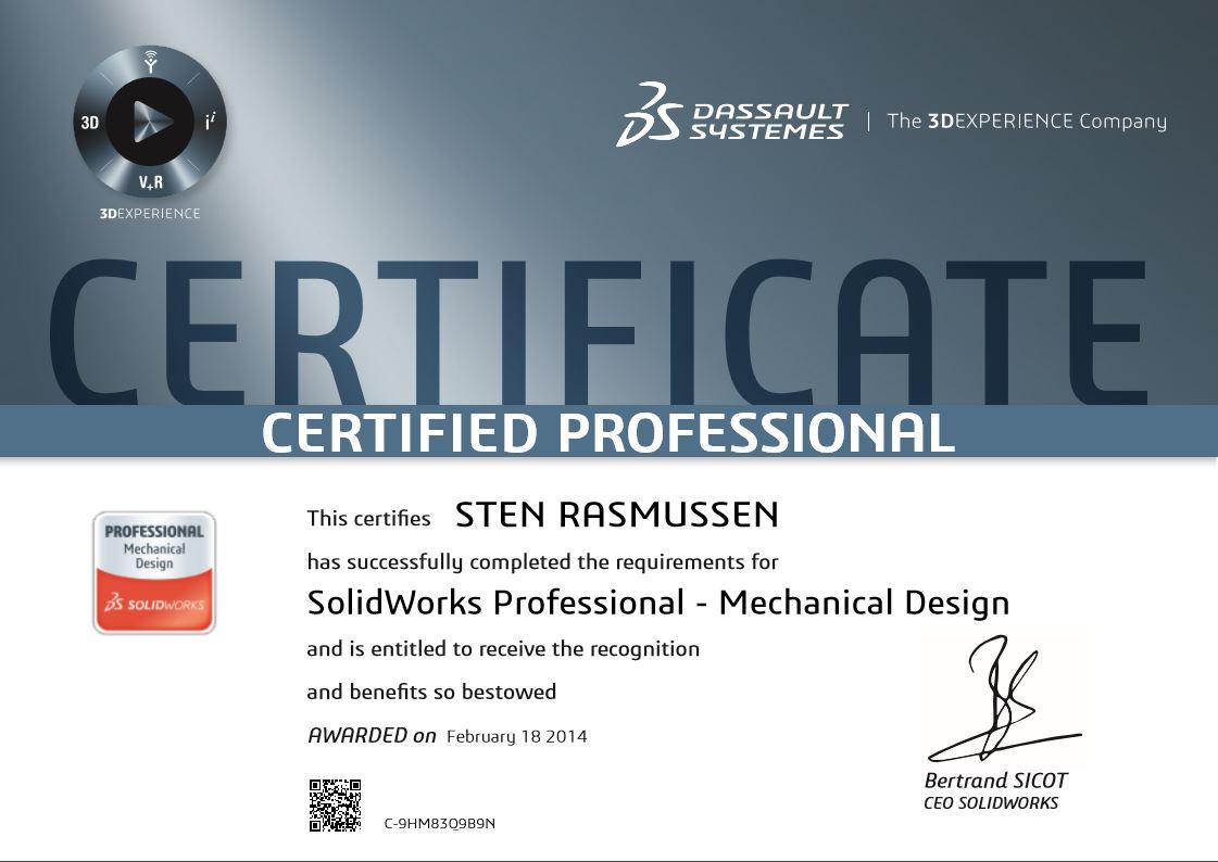 Certified SolidWorks Professional certificering certifikat