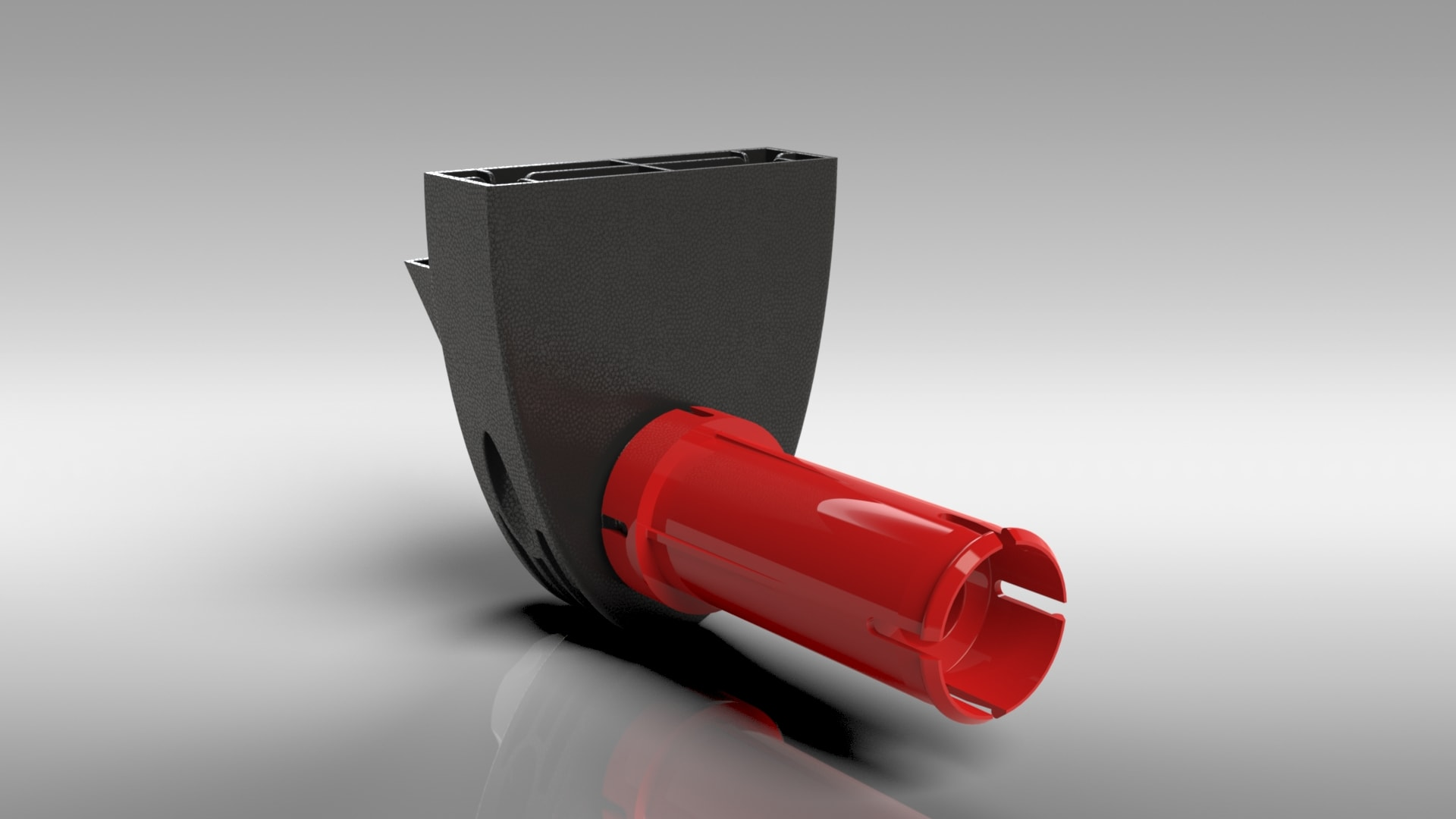 Eksempel på fotorealistisk rendering af samlet plastprodukt lavet i programmet SolidWorks Visualize