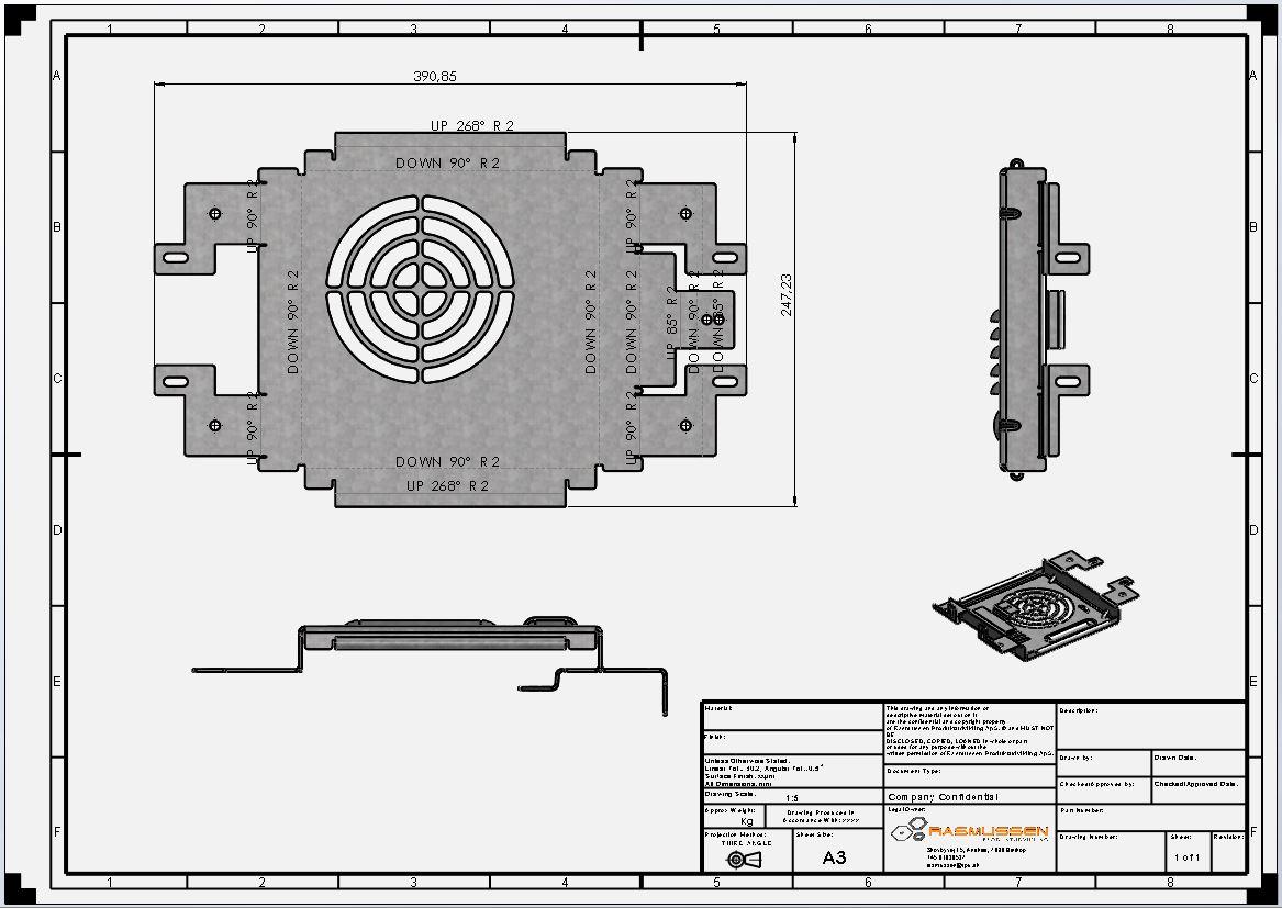 Eksporteret dxf-fil for laserskæring